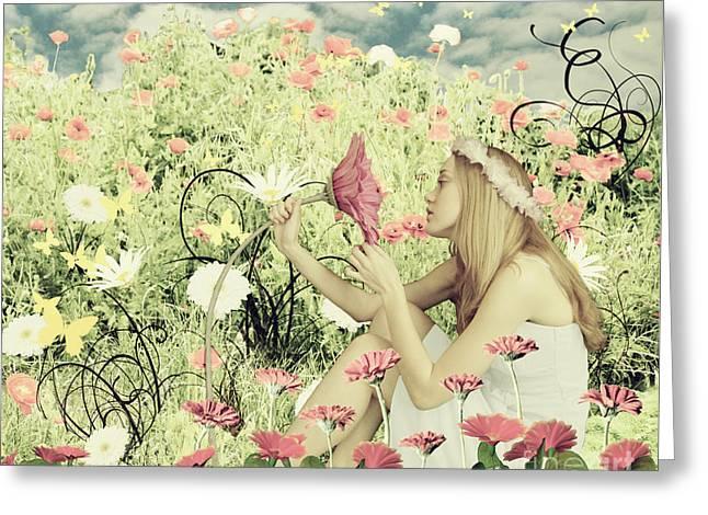 Linda Lees Greeting Cards - Flora Greeting Card by Linda Lees