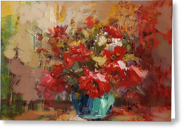 Lounge Paintings Greeting Cards - Floral 16B Greeting Card by Mahnoor Shah
