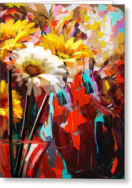 Bouquet Of Sunflowers Greeting Cards - Floral 5B Greeting Card by Mahnoor Shah