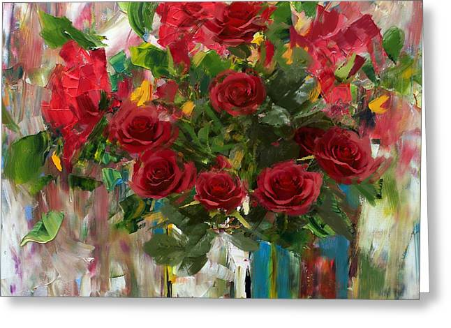 Bouquet Of Roses Greeting Cards - Floral 7 Greeting Card by Mahnoor Shah