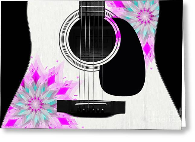 Hourglass Design Greeting Cards - Floral Abstract Guitar 1 Greeting Card by Andee Design