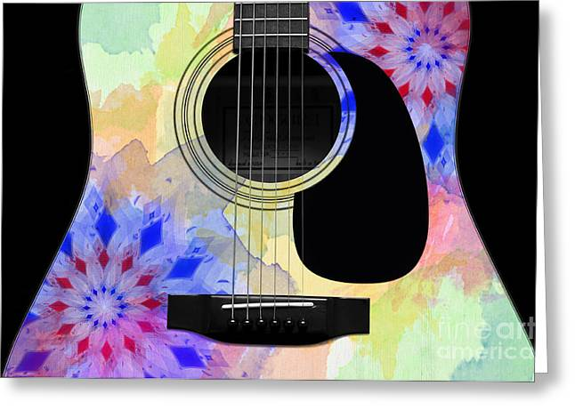 Hourglass Design Greeting Cards - Floral Abstract Guitar 11 Greeting Card by Andee Design