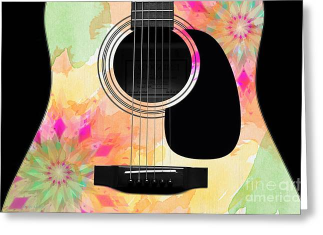 Hole 12 Greeting Cards - Floral Abstract Guitar 12 Greeting Card by Andee Design