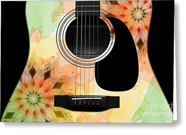 Hole 13 Greeting Cards - Floral Abstract Guitar 13 Greeting Card by Andee Design