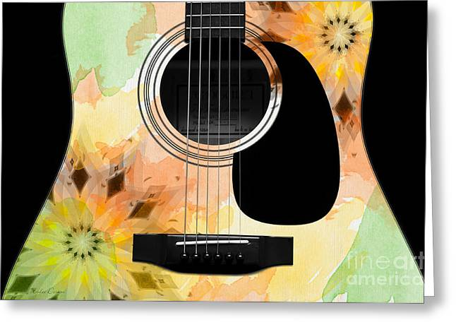 Hourglass Design Greeting Cards - Floral Abstract Guitar 14 Greeting Card by Andee Design