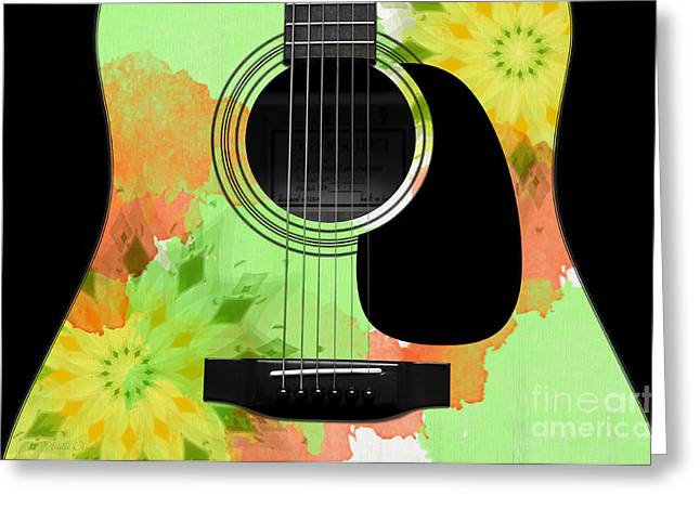Hourglass Design Greeting Cards - Floral Abstract Guitar 15 Greeting Card by Andee Design