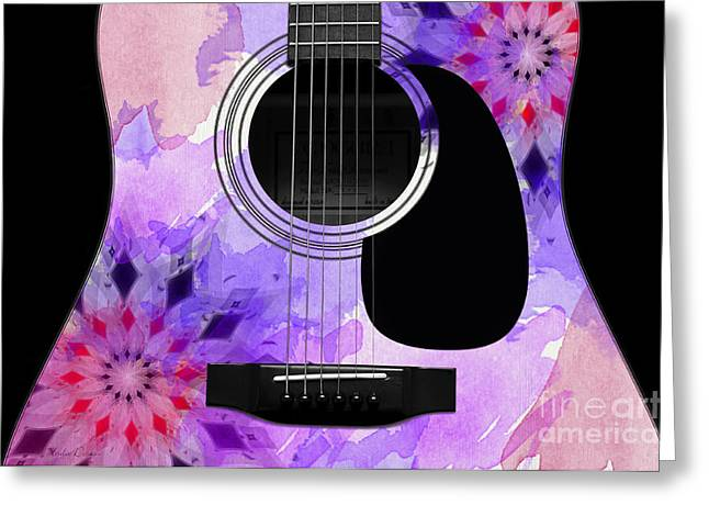 Hourglass Design Greeting Cards - Floral Abstract Guitar 18 Greeting Card by Andee Design