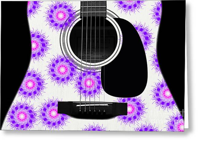 Hourglass Design Greeting Cards - Floral Abstract Guitar 19 Greeting Card by Andee Design