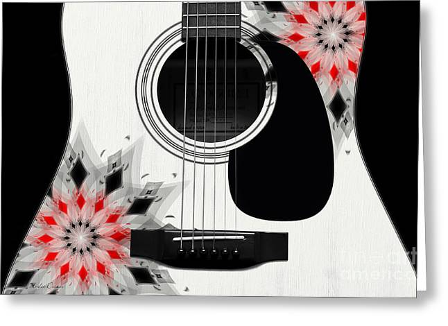 Hourglass Design Greeting Cards - Floral Abstract Guitar 2 Greeting Card by Andee Design