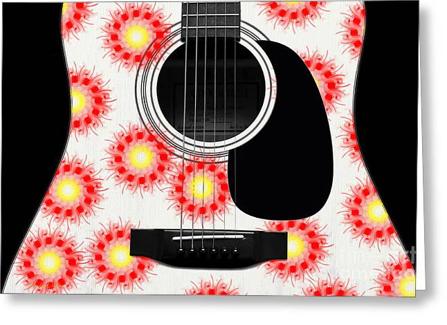 Hourglass Design Greeting Cards - Floral Abstract Guitar 21 Greeting Card by Andee Design