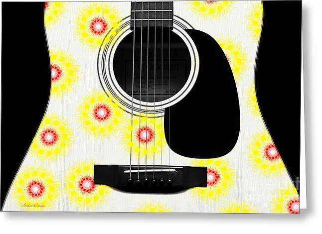 Hourglass Design Greeting Cards - Floral Abstract Guitar 22 Greeting Card by Andee Design