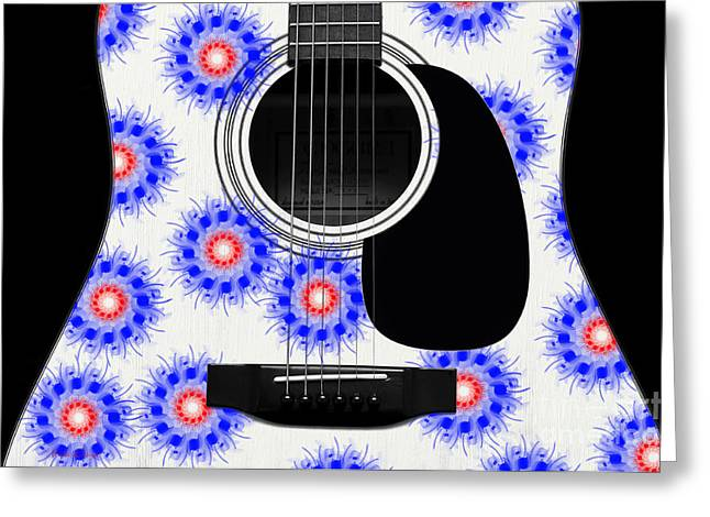 Hourglass Design Greeting Cards - Floral Abstract Guitar 23 Greeting Card by Andee Design