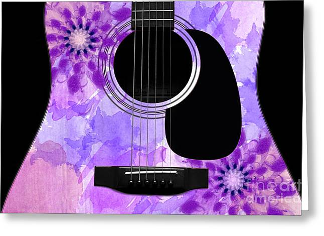 Hourglass Design Greeting Cards - Floral Abstract Guitar 29 Greeting Card by Andee Design