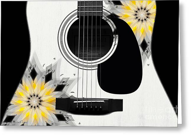 Hourglass Design Greeting Cards - Floral Abstract Guitar 3 Greeting Card by Andee Design