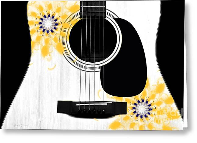 Hourglass Design Greeting Cards - Floral Abstract Guitar 31 Greeting Card by Andee Design