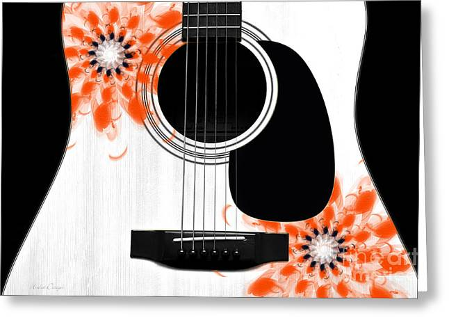Hourglass Design Greeting Cards - Floral Abstract Guitar 32 Greeting Card by Andee Design