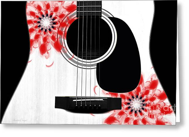 Hourglass Design Greeting Cards - Floral Abstract Guitar 33 Greeting Card by Andee Design