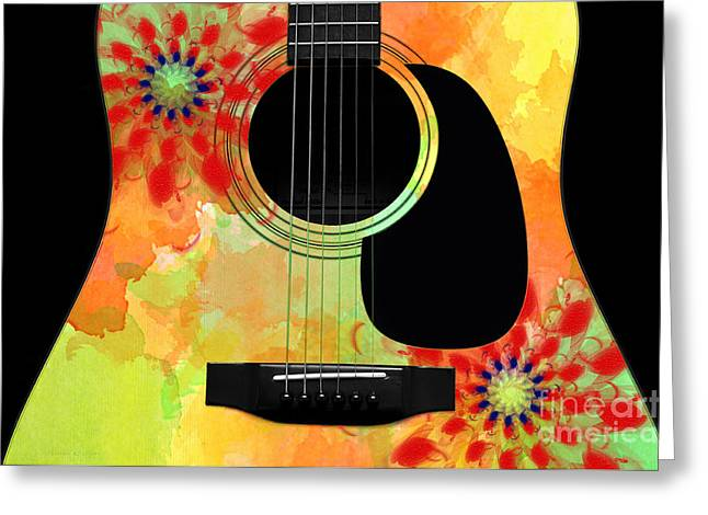 Hourglass Design Greeting Cards - Floral Abstract Guitar 34 Greeting Card by Andee Design