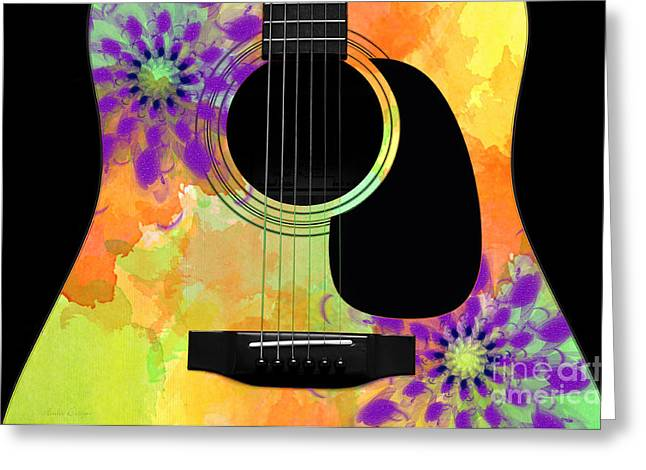 Hourglass Design Greeting Cards - Floral Abstract Guitar 35 Greeting Card by Andee Design