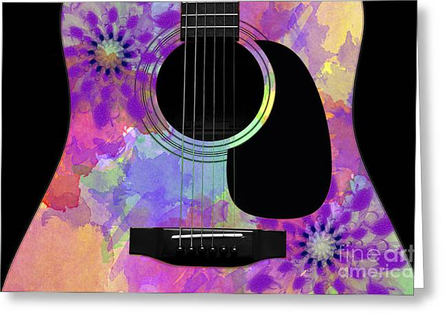 Hourglass Design Greeting Cards - Floral Abstract Guitar 36 Greeting Card by Andee Design