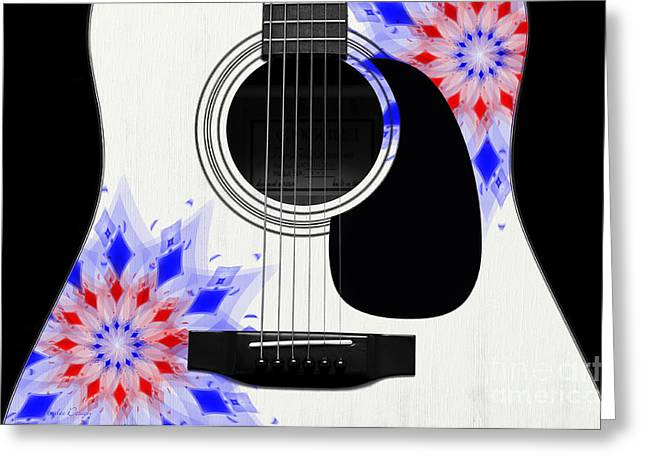 Hourglass Design Greeting Cards - Floral Abstract Guitar 4 Greeting Card by Andee Design