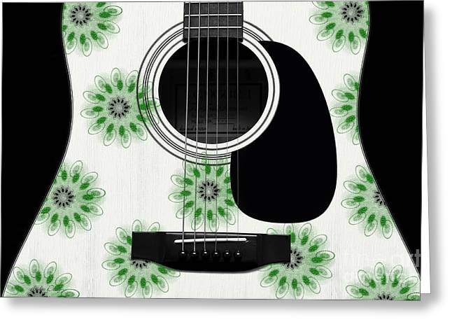 Hourglass Design Greeting Cards - Floral Abstract Guitar 5 Greeting Card by Andee Design