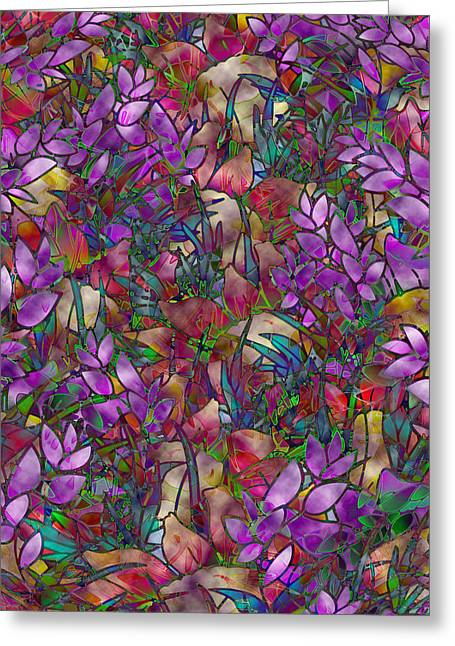 Abstract Digital Glass Art Greeting Cards - Floral Abstract Stained Glass Greeting Card by Medusa GraphicArt