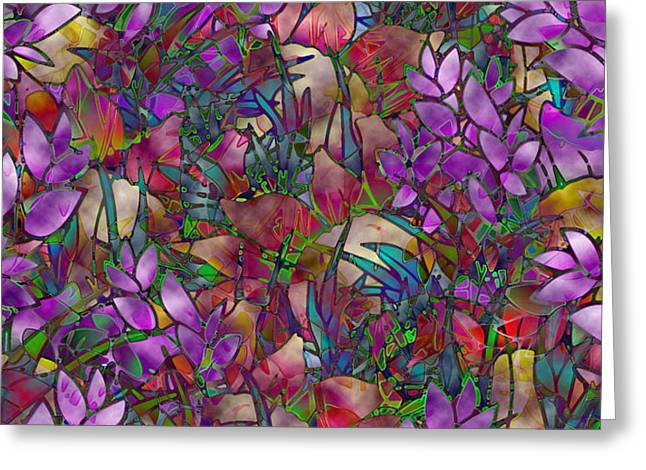 Floral Abstract Stained Glass Greeting Card by Medusa GraphicArt