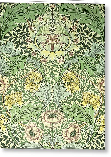 Wallpaper Tapestries Textiles Greeting Cards - Floral and foliage design Greeting Card by William Morris
