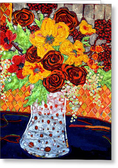 Diane Fine Greeting Cards - Floral Arrangement Greeting Card by Diane Fine