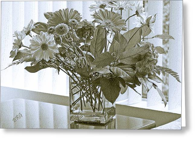 Blue Jar Greeting Cards - Floral Arrangement With Blinds Reflection Greeting Card by Ben and Raisa Gertsberg