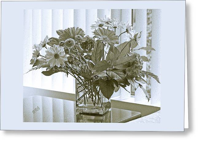 Glass Table Reflection Greeting Cards - Floral Arrangement With Blinds Reflection Greeting Card by Ben and Raisa Gertsberg