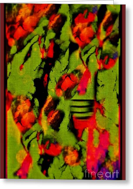 Floral Arrrangement Abstract Greeting Card by John Malone