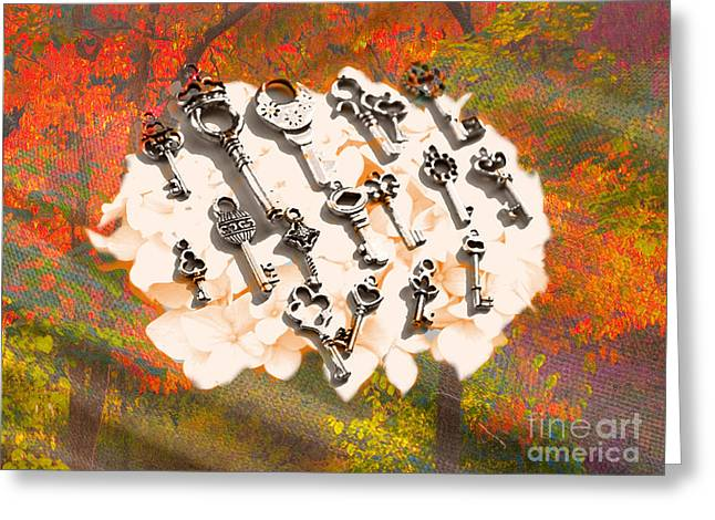 Reflection Harvest Mixed Media Greeting Cards - Floral Artwork Colorful with bunch of keys Greeting Card by Art World