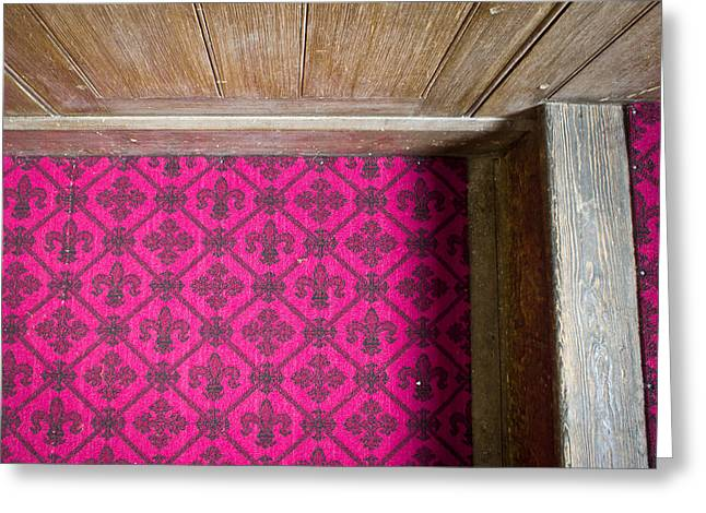 Burgundy Greeting Cards - Floral carpet Greeting Card by Tom Gowanlock