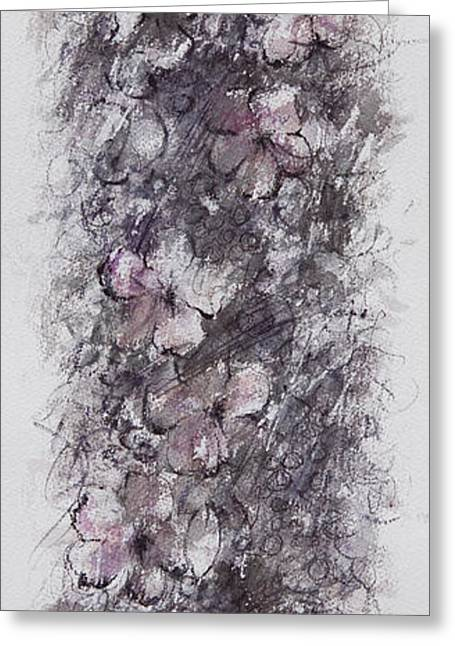Grape Vines Drawings Greeting Cards - floral cascade II Greeting Card by Rachel Christine Nowicki