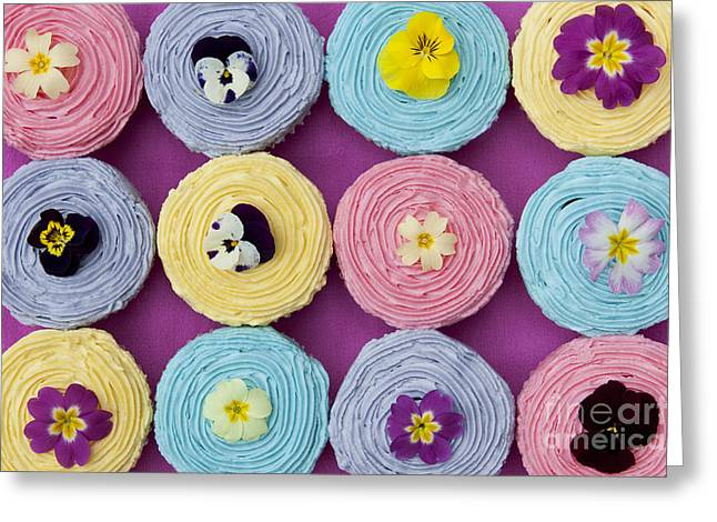 Violet Art Greeting Cards - Floral Cupcakes Greeting Card by Tim Gainey