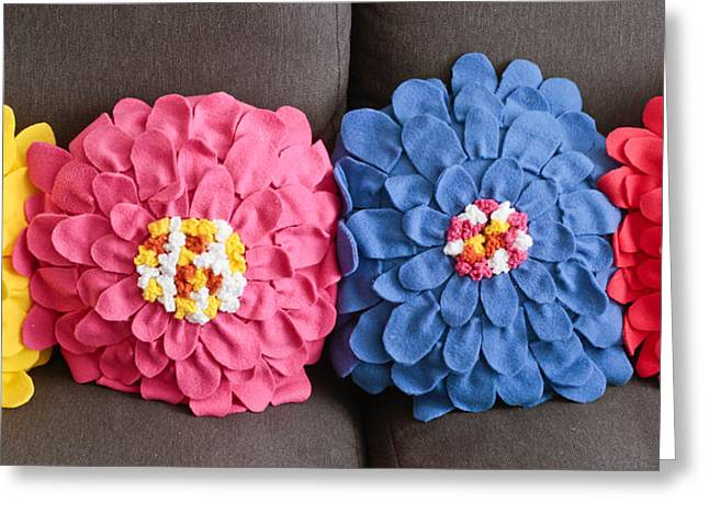 Cushion Photographs Greeting Cards - Floral cushions Greeting Card by Tom Gowanlock