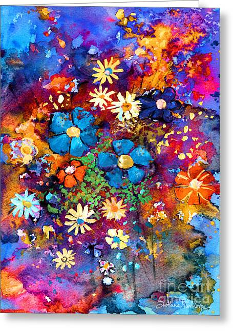 Abstract Drawings Greeting Cards - Floral dance fantasy Greeting Card by Svetlana Novikova