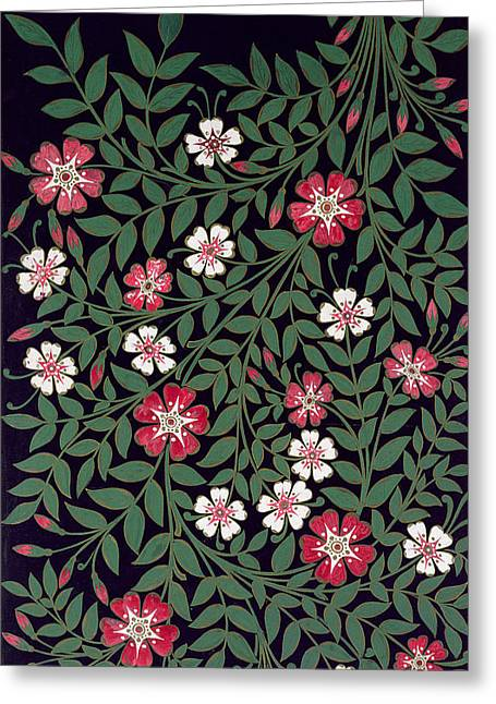 Textile Art Greeting Cards - Floral Design By J. Owen, 1863 Colour Litho Greeting Card by Owen Jones