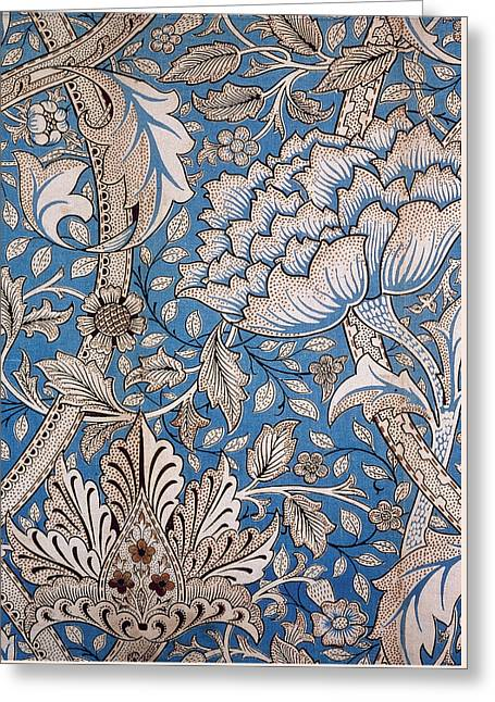 Tapestry Tapestries - Textiles Greeting Cards - Floral Design Greeting Card by William Morris