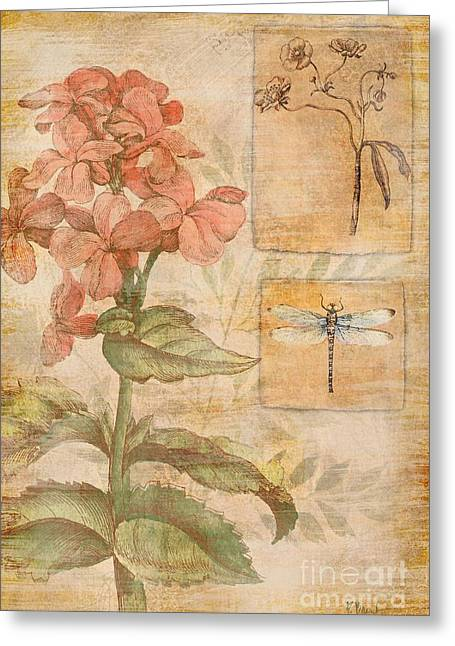 Yellow Dragonfly Greeting Cards - Floral Dragonfly Greeting Card by Paul Brent