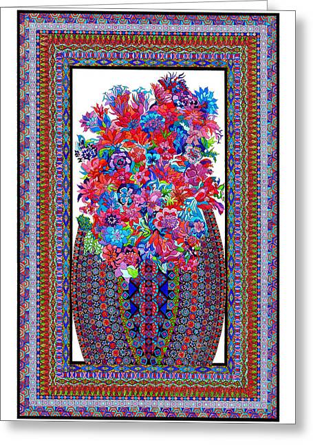 Geometrical Art Tapestries - Textiles Greeting Cards - Floral Embroidery Greeting Card by Lawrence Chvotzkin
