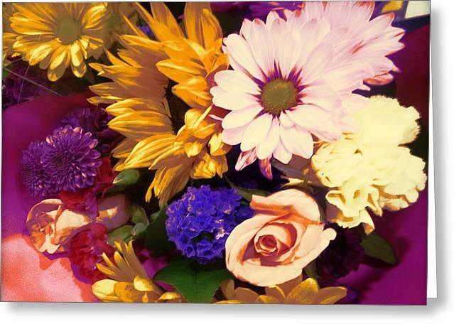 Aster Digital Art Greeting Cards - Floral Exuberance Greeting Card by Lori Seaman