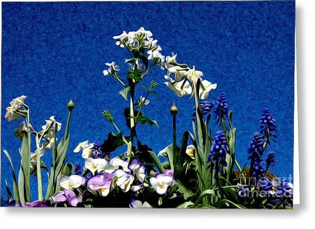 Ground Level Digital Greeting Cards - Floral Fantasy Greeting Card by Karen Lee Ensley