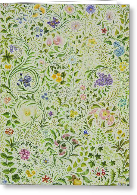 Flower Design Paintings Greeting Cards - Floral Fantasy Greeting Card by Lynn Bywaters