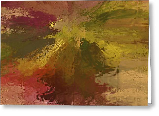 Red Green And Gold Abstracts Greeting Cards - Floral Fantasy No 3 Greeting Card by Ben and Raisa Gertsberg