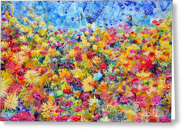 Daisy Reliefs Greeting Cards - Floral Fireworks Greeting Card by Regina Valluzzi
