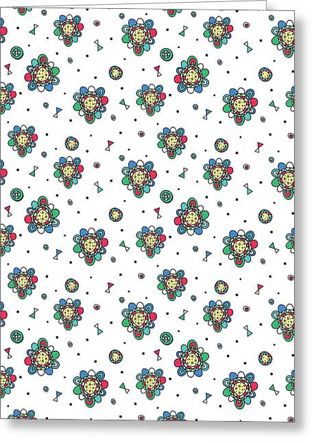Geometric Art Greeting Cards - Floral Folk Repeat Print Greeting Card by Susan Claire