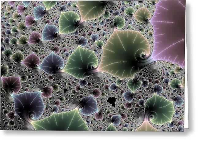 Floral Fractal Artwork Green Blue Pink Digital Leaves Greeting Card by Matthias Hauser